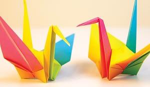 two origami bird figures