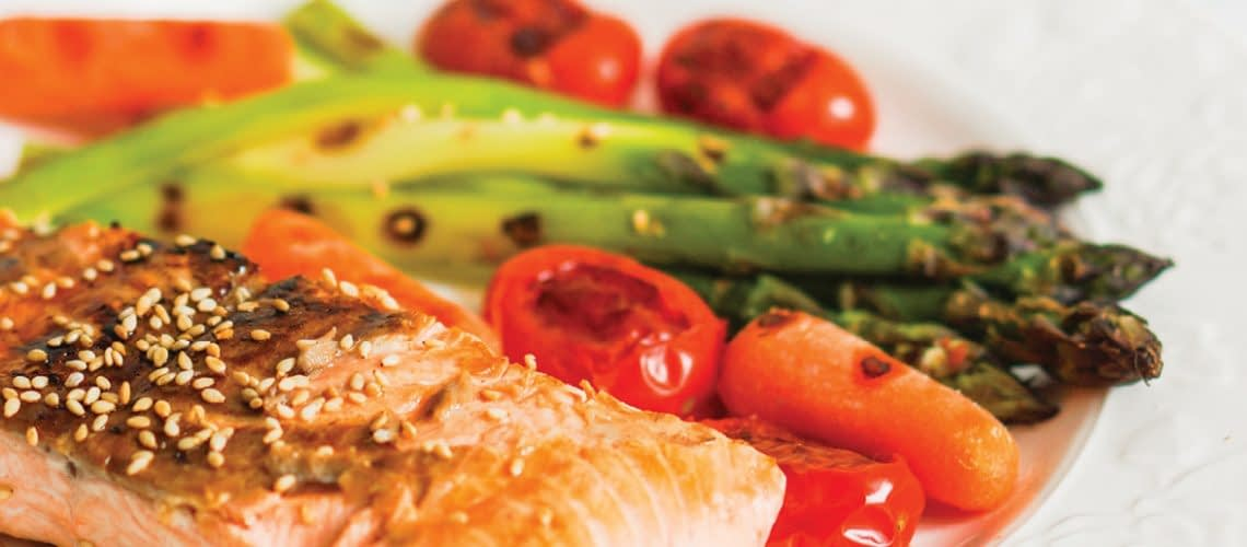 complete meal salmon, asparagus, carrots and baby tomatoes
